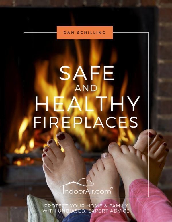 Photo of book cover for Safe and Healthy Fireplaces which discusses wood fireplaces and gas fireplace inserts
